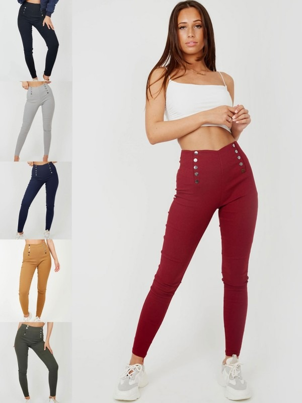 Mock Button High Waist Jeggings Multi Pack