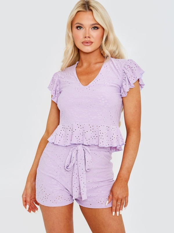 Anglaise Frill Top & Belted Shorts Co-ord