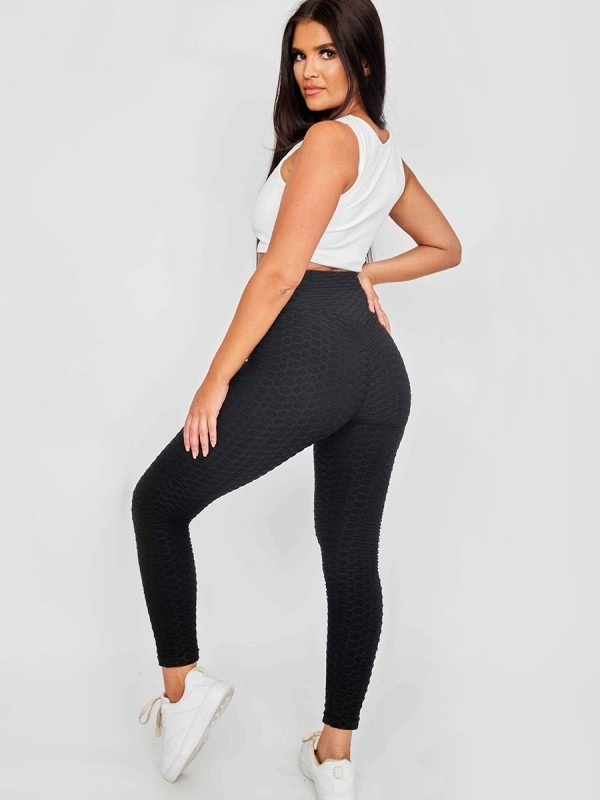 Scrunch Back Texture Detail Active-wear Legging