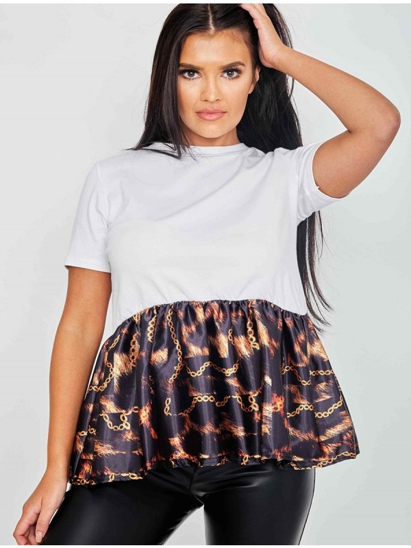 Fire Chain Print Frill Hem Top
