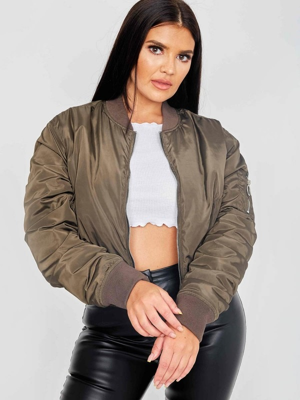 Pull-Ring Zip-Up Bomber Jacket