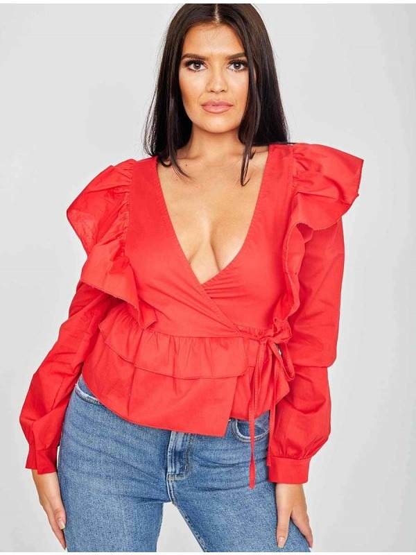 Wrap Front Ti Knot Frill Top