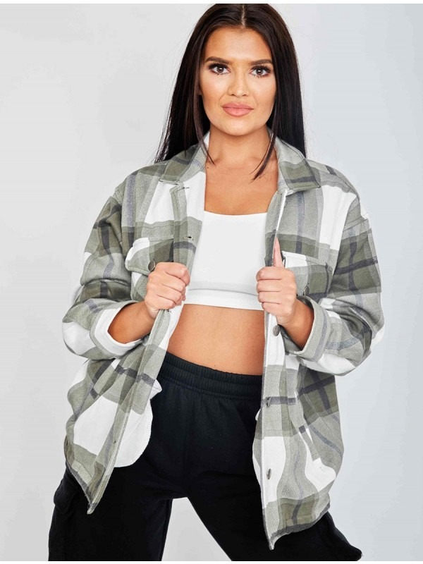 Classic Thick Colour Block Checked Shirt Jacket Shacket