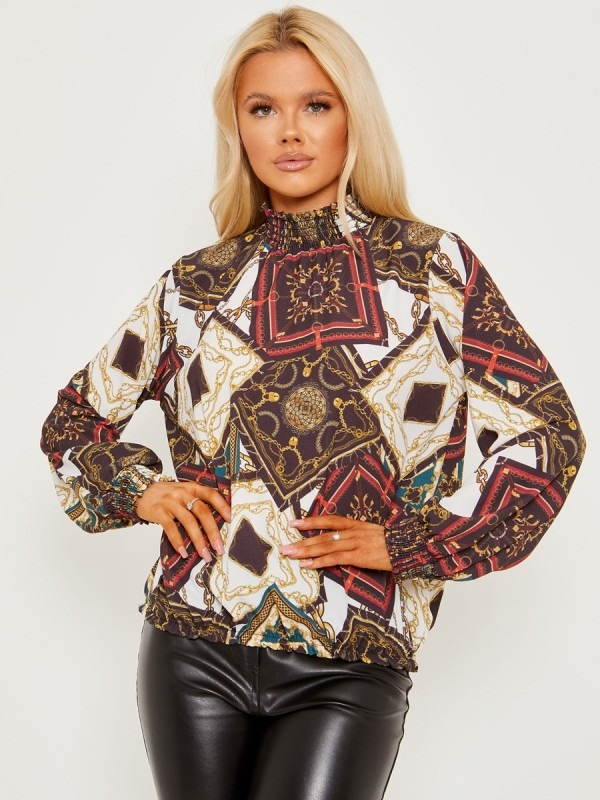 Scarf Chain Print Frill Shirred High Neck Blouse