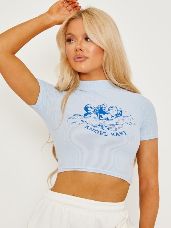 Angel Baby Graphic Ribbed Crop Top