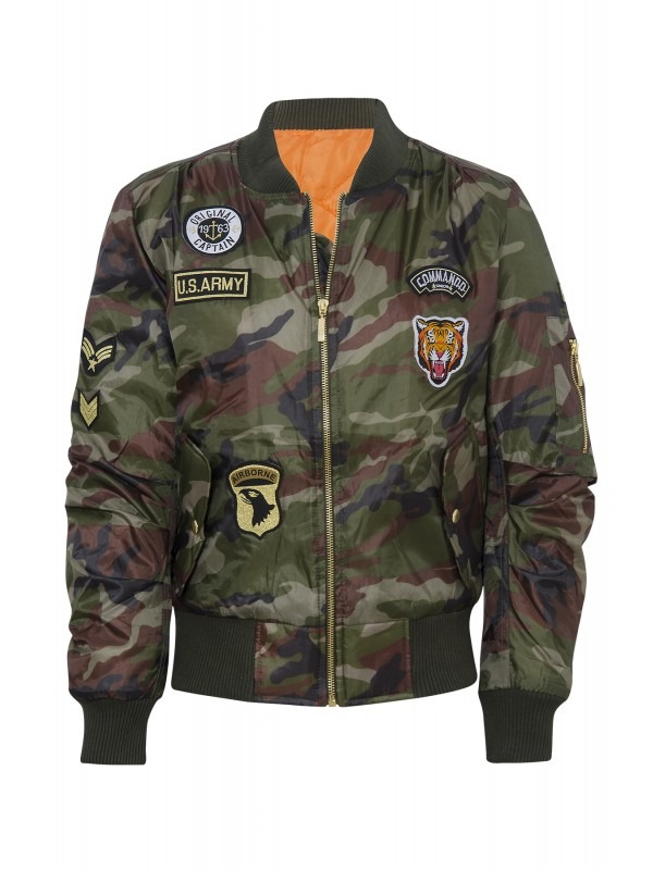 Camouflage Print Badged Classic Padded Bomber Jacket