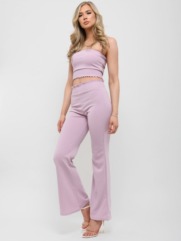 Shirred Bandeau Crop Top & Trouser Co-ord