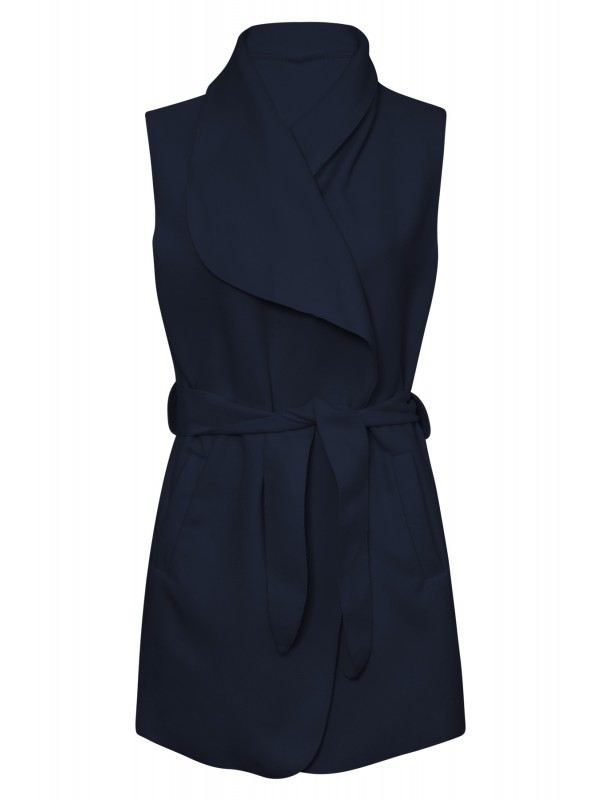 Sleeveless Waterfall Belted Coat