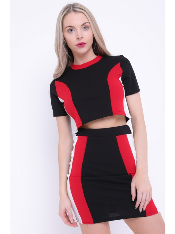 Contrast Panel Top And Skirt Co-ord