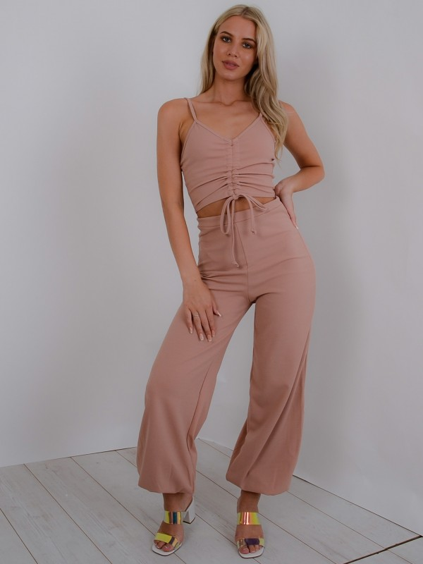 Ruched Cami Crop Top & Trouser Co-ord