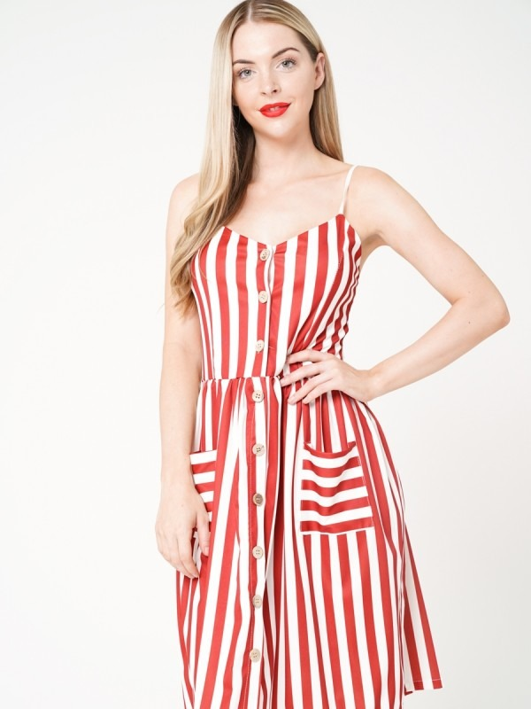 Button Front Striped Cami Dress