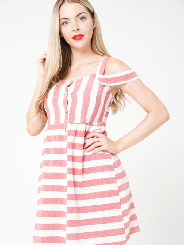 Button Front Cold Shoulder Striped Dress