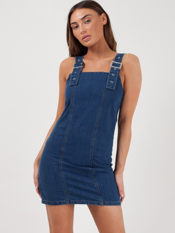 Buckle Strap Mini Denim Dress