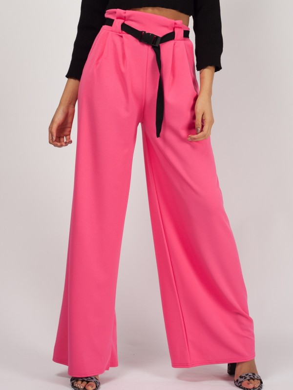 Buckle Belt High Waist Trousers