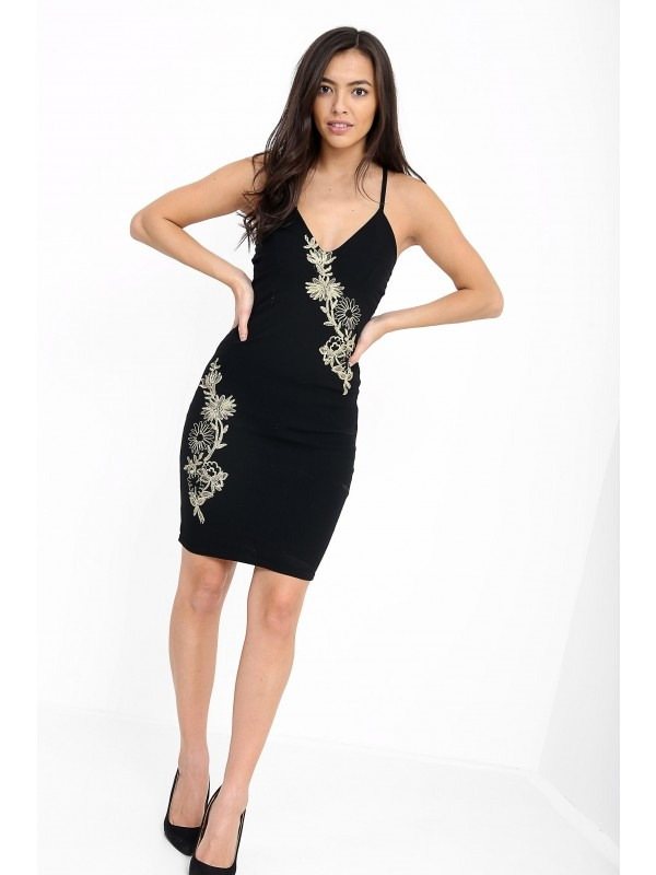Applique Embroidered Cross Back Cami Dress