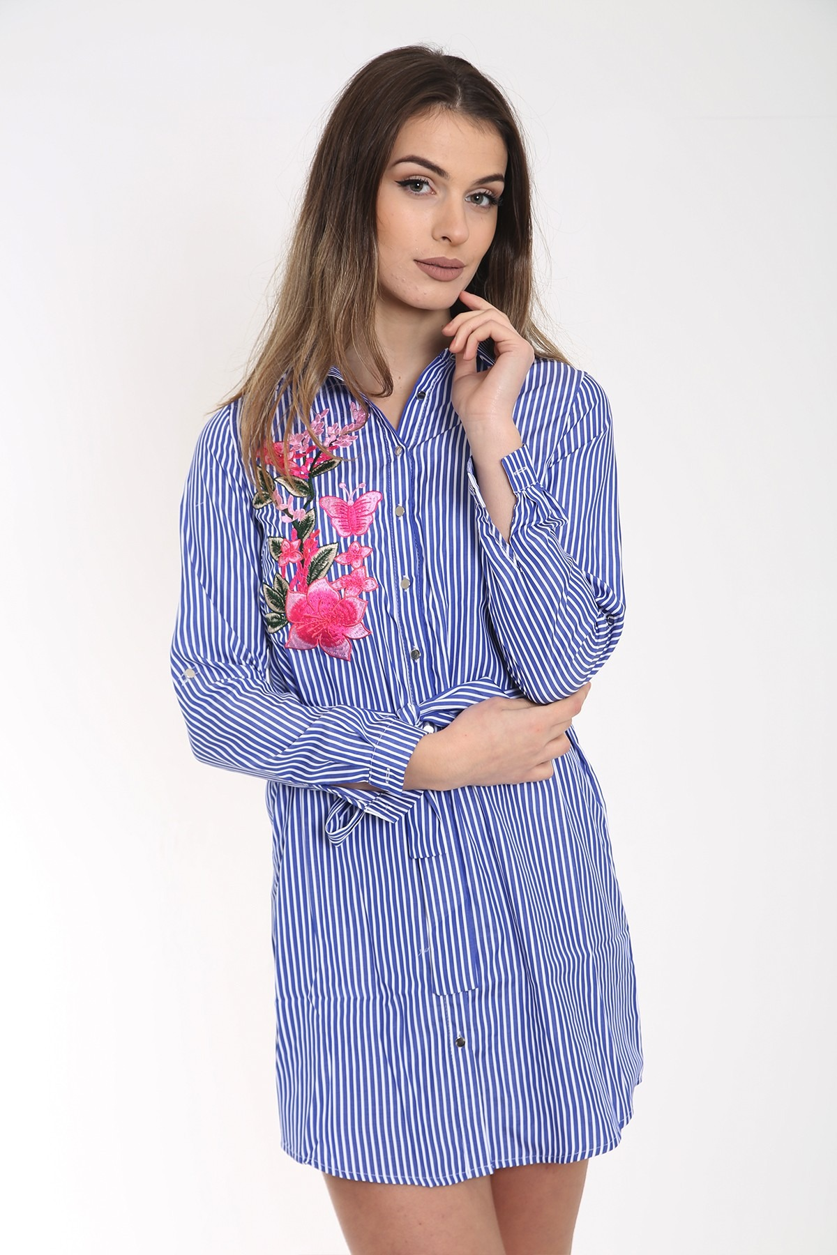 Butterfly Floral Embroidered Striped Shirt Dress