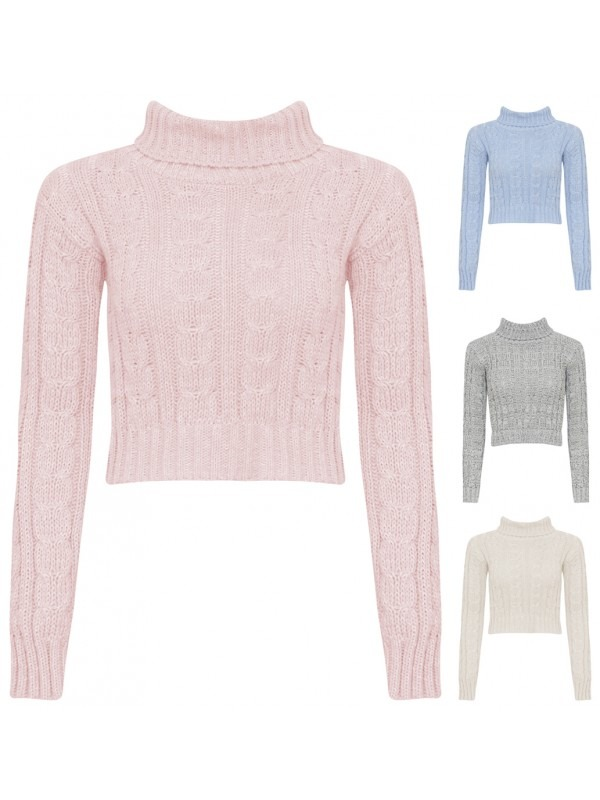 Turtle Neck Long Sleeve Cable Knit Top