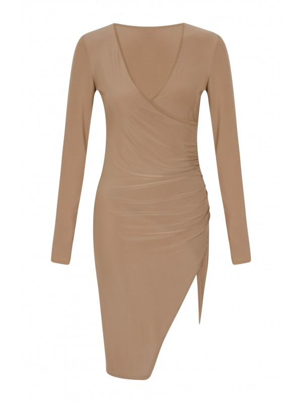 Slinky Wrap Over Ruched Bodycon Dress