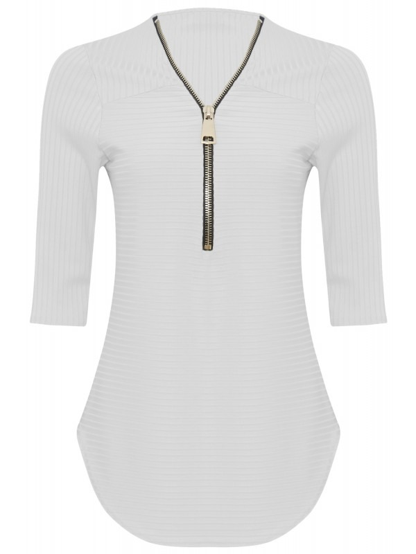 3/4 Sleeve Zip Detail Ribbed Top