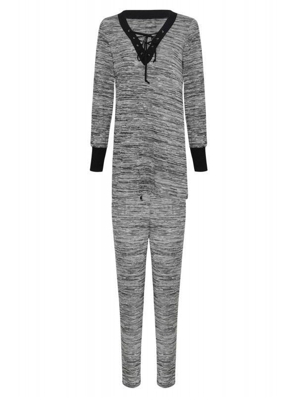 Contrast Melange Lace Up Lounge Wear