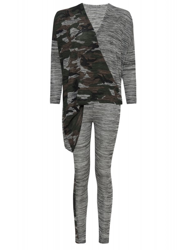 Asymmetrical Wrap Over Lounge Suit In Camouflage