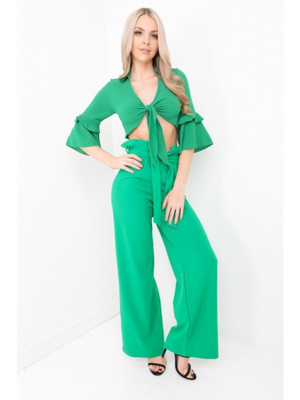 Wide Leg Paper Bag Tie Waist Trousers
