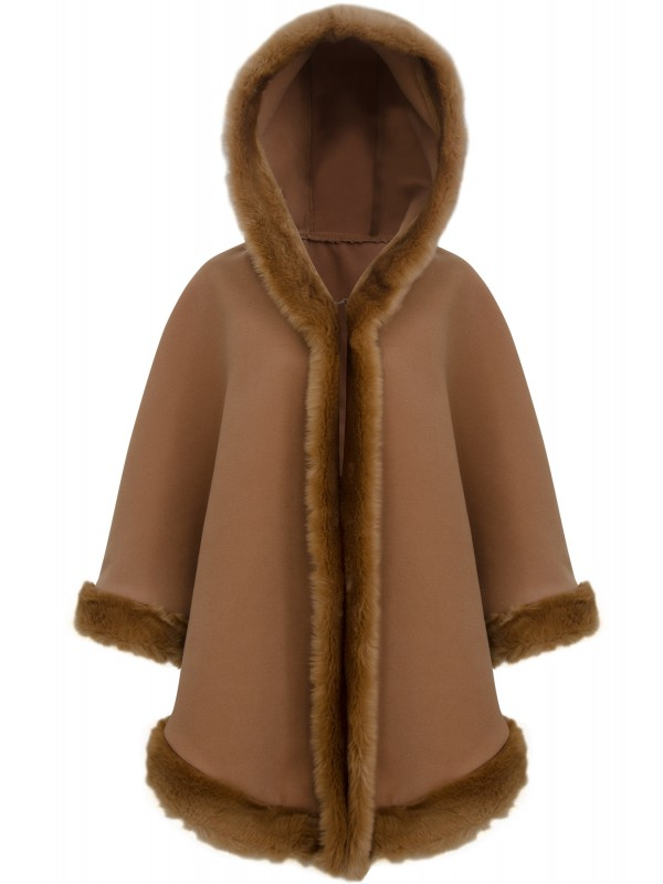 Faux Fur Trim Hooded Cape
