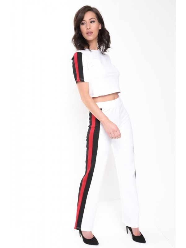 Black And Red Side Stripe Loungewear Co-ord