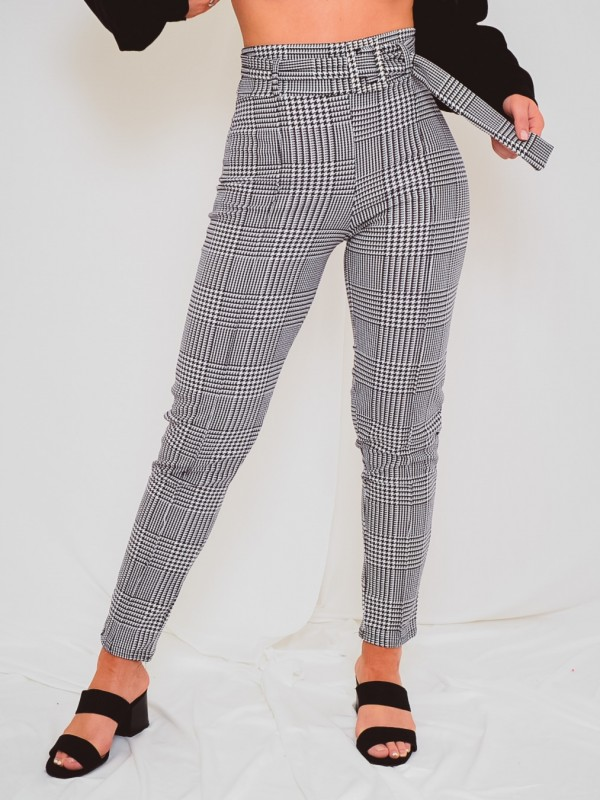 Gingham Check Matching Buckle Belted Trousers