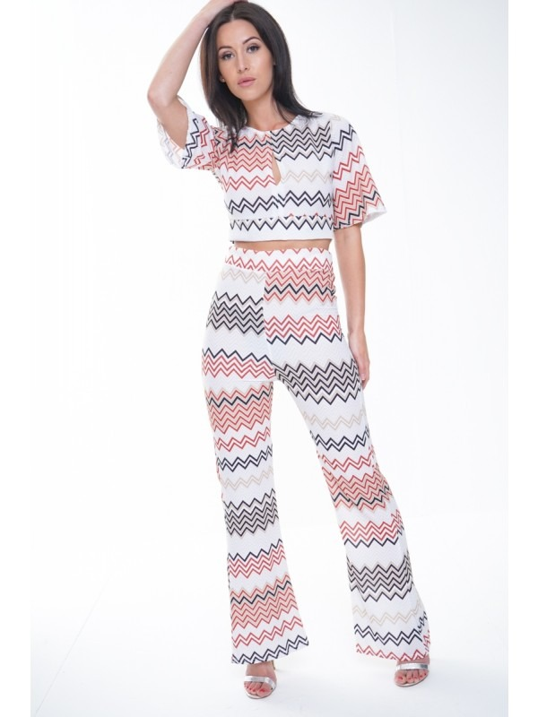 Chevron Print Crop Top & Trouser Co-ord