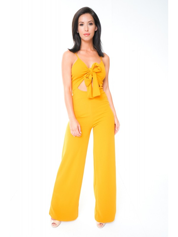Cut Out Knot Front Cami Jumpsuit