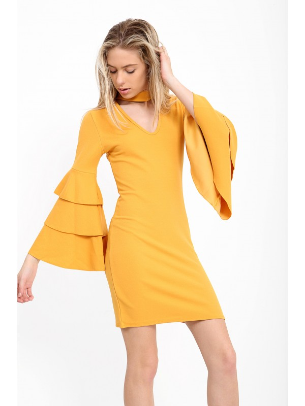 Triple Frill Sleeve Choker Neck Bodycon Dress