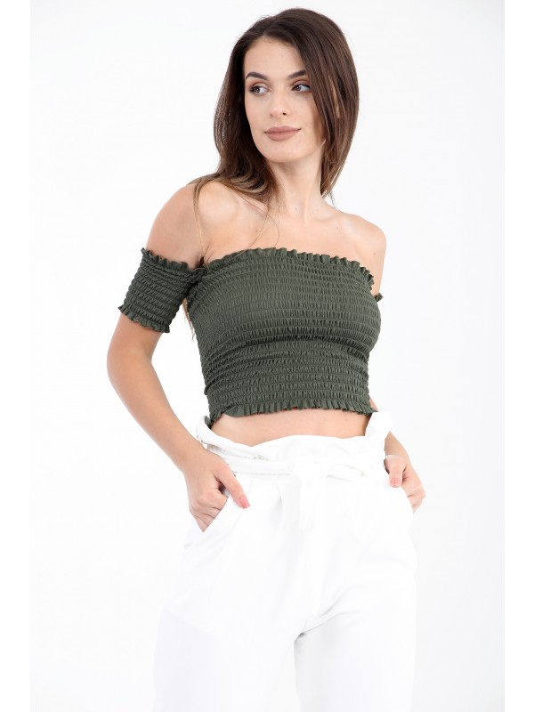 Shirred Bandeau Top