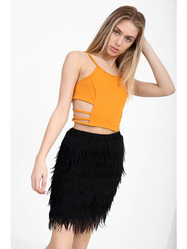 Cut Out Sides Cami Crop Top