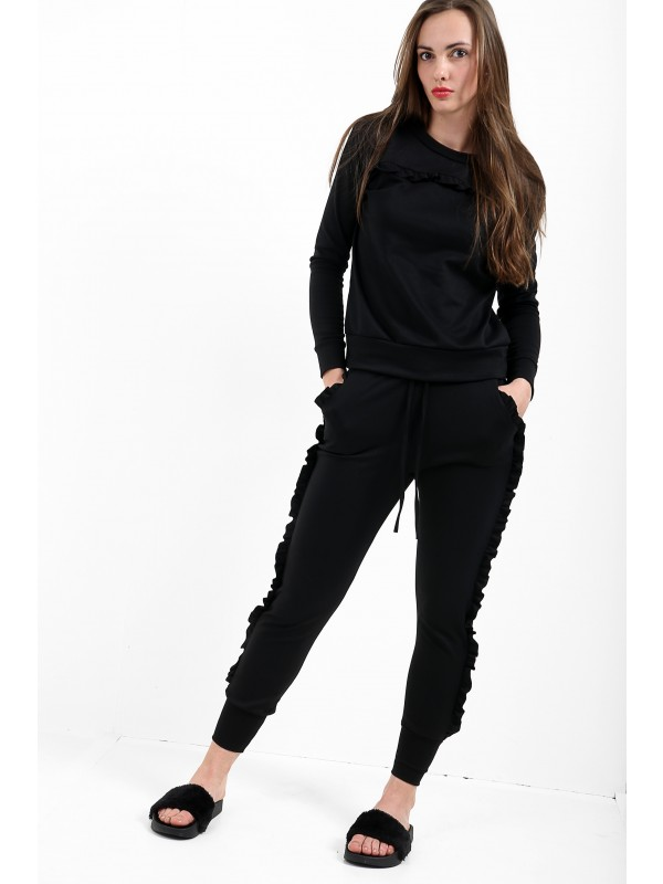 Ruffle Frill Top And Jogger Lounge Suit