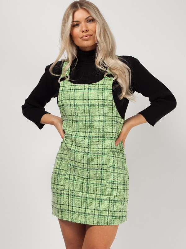 Woven Knit Checked Pinafore Dress