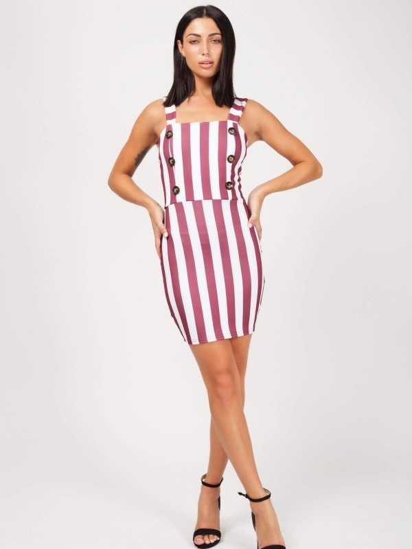 Wide Stripe Button Front Dress