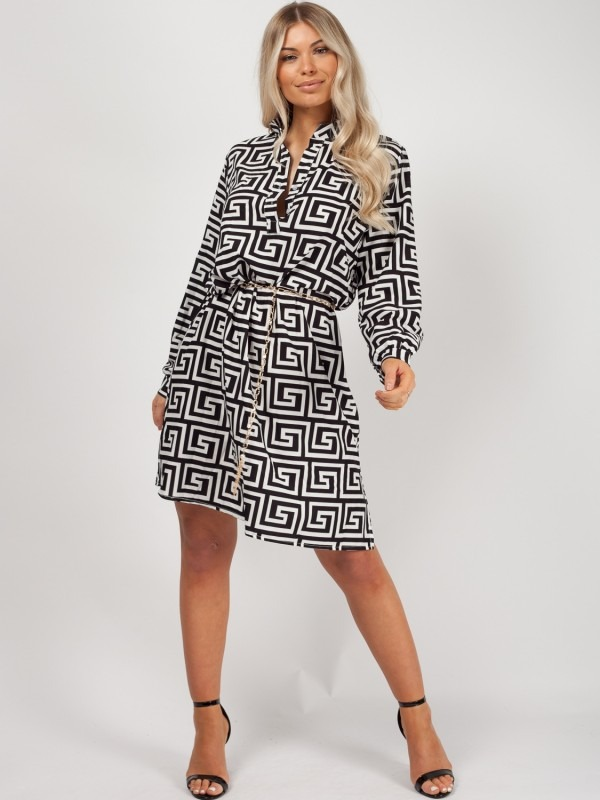 Illusion Print Shirt Dress With Chain Belt