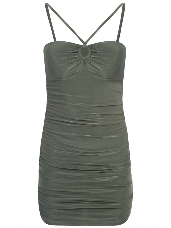 Keyhole Front Slinky Ruched Strappy Dress