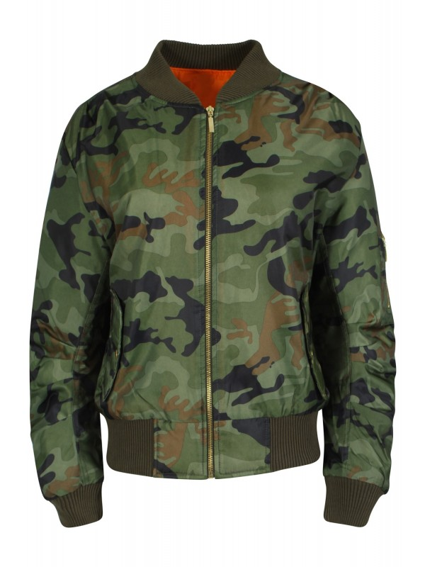 Camouflage Army Print Classic Padded Bomber Jacket