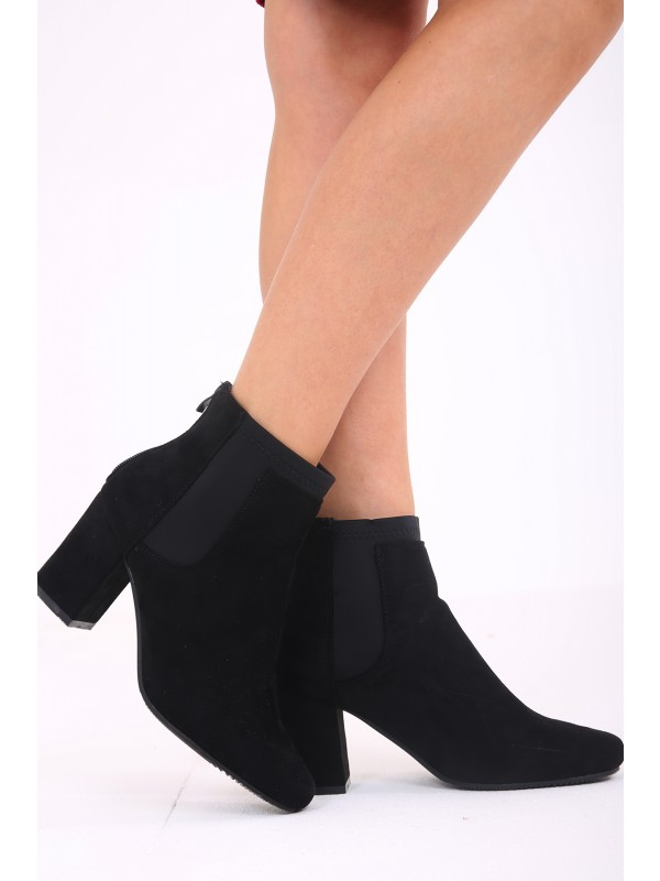Faux Suede Heeled Ankle Boots