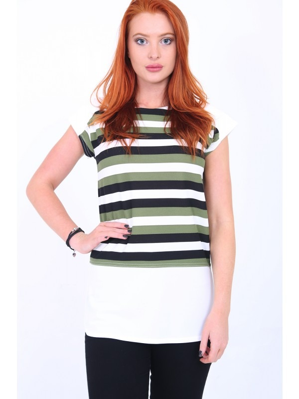 Cap Sleeve Striped Top
