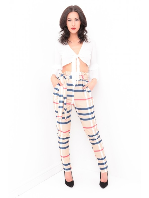 Checked Paper Bag Tie Waist Trousers