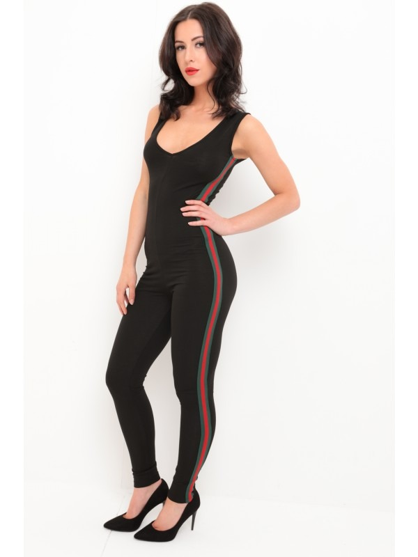 Green And Red Side Stripe Jumpsuit