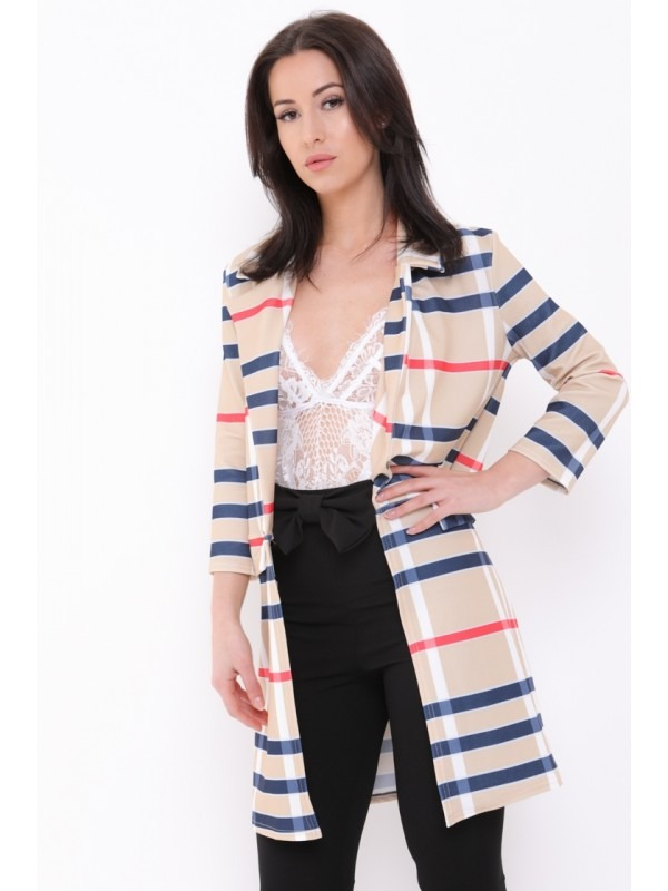 Checked Long Line Duster Blazer