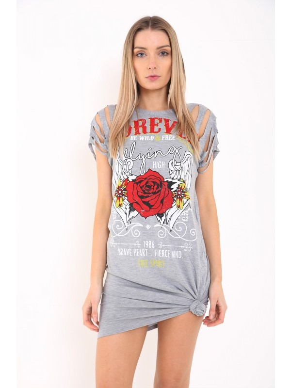 Slashed Sleeve Forever Rose Printed Longline T Shirt Dress