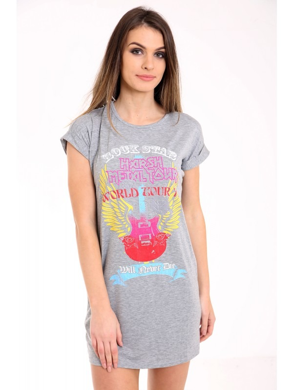 Rock Star Guitar Print Longline T Shirt Dress