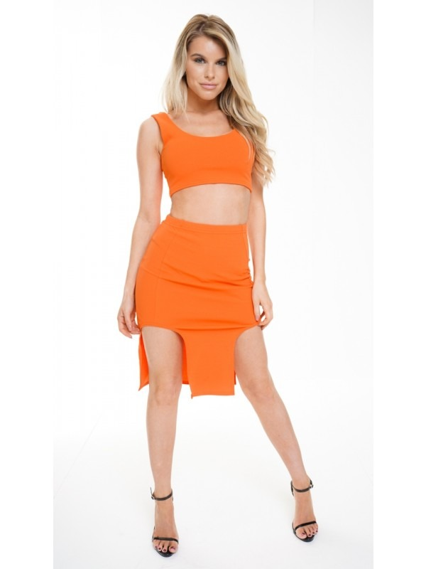 Split Front Skirt And Crop Top Co-ord