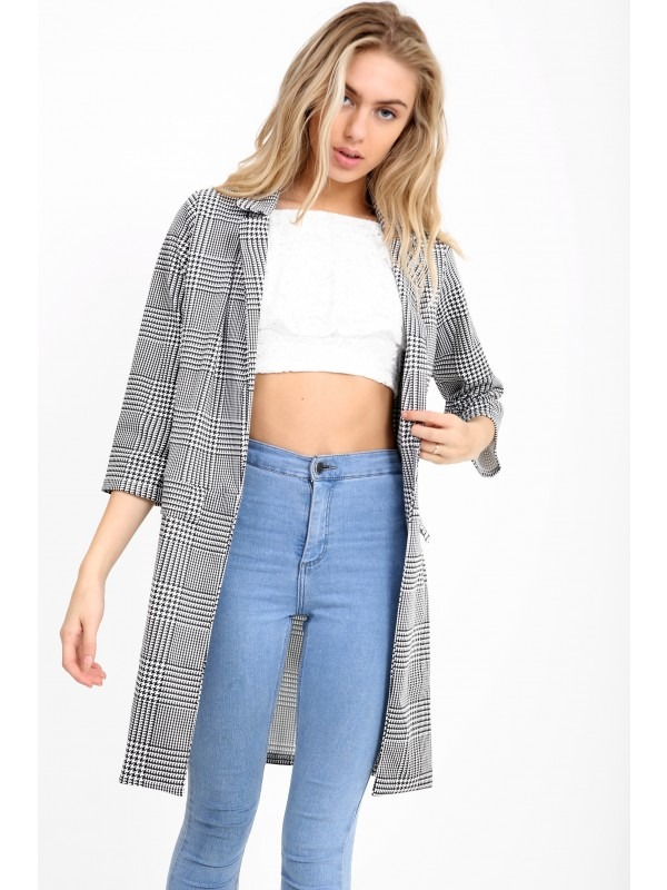 Houndstooth Duster Coat
