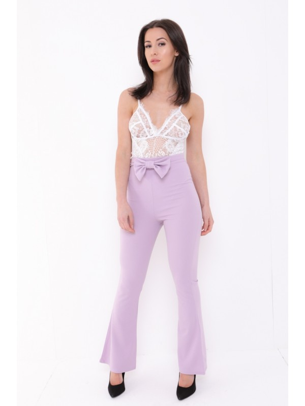 Bow Front High Waist Trousers